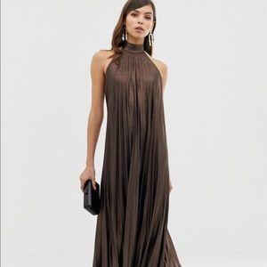 ASOS Halter Metallic Maxi Dress